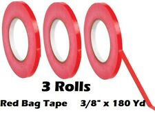 3 Roll Red Bag Sealing Poly Tape 3/8 inch x 180 yards Produce PVC Closure
