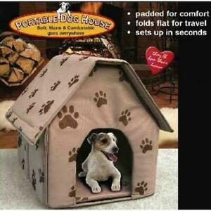 Folding Dog House Small Footprint Pet Bed Tent Portable Travel Brown Luxury
