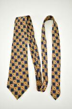 """LANVIN """"Paris"""": Gold, Blue & Red Medallion, 100% Silk, Club Tie"""