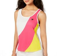 Tommy Hilfiger Womens Activewear Tank Top Yellow Size XS Colorblock $39 211
