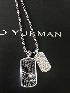 David Yurman Men's Large Black Diamond Dog Tag