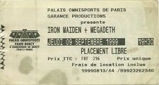 RARE / TICKET CONCERT - IRON MAIDEN + MEGADETH LIVE TO PARIS ( FRANCE ) 1999