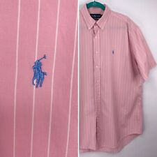 Mens POLO RALPH LAUREN Pastel Pink Short Sleeve Shirt Light Blue Pony L Large