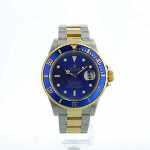 Rolex Submariner Date 16803 40mm Blue Dial 18ct Gold and Steel 1987