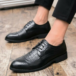 Men Oxfords Business Formal Lace Up Dress Shoes Pointed Toe PU Leather Crocodile
