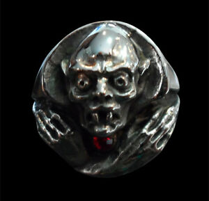 Stainless Nosferatu Vampire Ring Custom Size Red Crystal German Horror Film R164