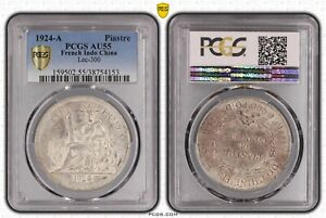 1924-A French Indo China Piastre PCGS AU55