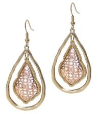 Gold Toned Metal Filigree Moroccan Earrings Drop Dangle Wire Hook Pierced Ears