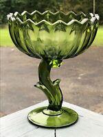 Vintage Green Glass Pedestal Vase Lotus Flower Stem Base