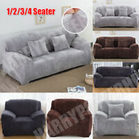 VELVET Elastic STRETCH SOFA COVERS Slipcover Protector Settee 1/2/3/4 Seater