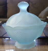 ❤️VINTAGE IMPERIAL GLASS RARE BLUE FROSTED LIDDED CANDY DISH ~ STAMPED LOVELY❤️