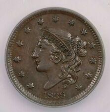 1838-P 1838 Coronet Head Cent 1C ICG AU55 perfect smooth brown surfaces!
