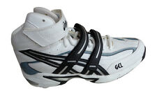 ASICS GEL 8 FOR WHITE/BLACK/SILVER HIGH SPIKED TRAINERS BRAND NEW SIZE UK 7