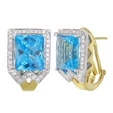 14k Two Tone Gold 0.66ctw Blue Topaz & Diamond Statement Earrings