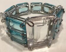 Estate Elegant Bounkit Cuff Bracelet Blue Crystal Quartz  Riding Plated  *
