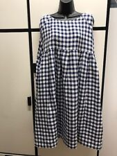 Veritecoeur Japan OS Linen Blue Combo Gingham Check Oversize Empire Waist Dress