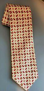 Polo Ralph Lauren Linen Silk Blend Gold & Rust Geometric Print Tie Hand Made
