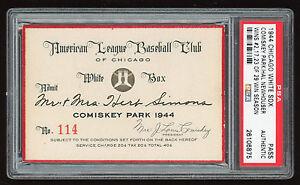1944 Chicago White Sox Season Pass PSA Comiskey Park Newhouser 29 Wins MVP Year
