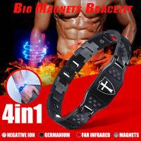 4 IN 1 Arthritis Men's Cross Knight Carbon Fiber Magnetic Bracelet Pain Relief