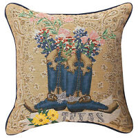 "PILLOWS - TEXAS PRIDE TAPESTRY PILLOW - 17"" SQUARE - COWBOY BOOTS - BLUEBONNETS"