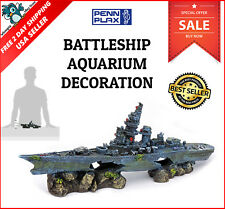 Aquarium Sunken Battleship Ornament Decoration Fish Tank Ship Wreck Boat NEW