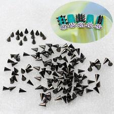 100x UV Acryl 3D Nieten Killernieten Nagelsticker Schwarz Nail Art Sticker DIY