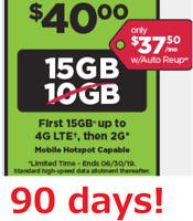 Preloaded Simple Mobile SIM Card $40 plan text/talk/15GB data 90 days (3 months)
