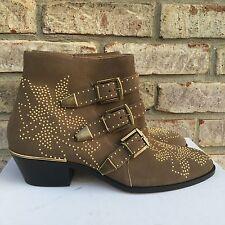 $1380 Chloe Suzanna Susan Susannah Taupe Beige Susanna Studded Ankle Boots 38.5