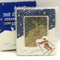 Russ The Ski Club Ceramic Picture Frame 3.5x5 Photo Skiing Vintage New