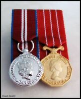 Canada Queen Diamond Jubilee & Canadian Decoration Miniature Medal Court Mounted
