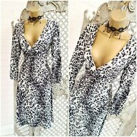 STUNNING 💋 UK 14 Grey Leopard Animal Print Twisted Fit & Flare Dress Free P&P