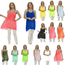 Damen Sommer Chiffon Nackholder Minikleid Bluse Strandkleid Party Tops T-Shirts