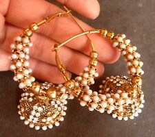 Antique Gold Plated Pearl Setting Indian Ring 4 cm Party Wear Earrings Jhumki .