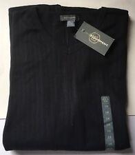 NWT Basic Equipment Men's Black Ribbed V-Neck ShortSleeve Shirt Big & Tall 3X