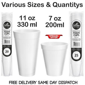 7oz 11oz WHITE FOAM  / POLYSTYRENE HOT DRINKS TEA DISPOSABLE CUP PARTY EVENTS