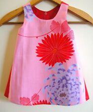 Dress toddler 74 1 vintage cotton Japanese kimono fabric red pink Larard 12M