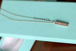 TIFFANY & CO. RARE TAG BAR PENDANT ENGRAVED NOTES WITH DIAMOND  & CHAIN