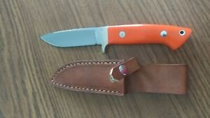 Steve Voorhis custom knife drop point hunter orange micarta  handle  w sheath
