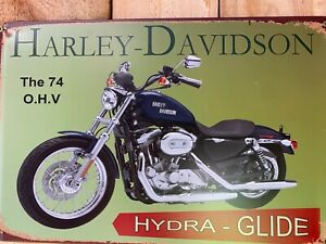 HARLEY Vintage Tin Bar Sign Motorcycle Man Cave Free Shipping Hydra Glide 74 OHV