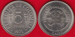 "Colombia 5 pesos 1971 km#247 ""Pan-American Games in Cali"" UNC"