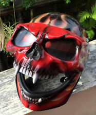 Motorcycle Helmet Skull Hellfire Death Red Fire Visor Ghost Rider Full Face Evil