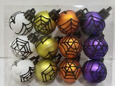 "(12) Halloween MINI Glitter Spider Web Plastic Ball Ornaments 1.5"" Decor"