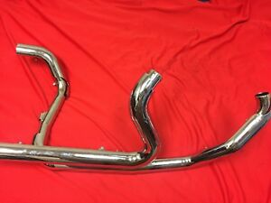 Harley Touring One Piece Vance & Hines Chrome Dresser Duals Header Exhaust Pipe