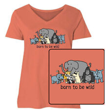 Teddy the Dog T Shirt Born to Be Wild Ladies Curvy V Neck Tee Endangered Species