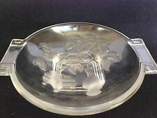 Vintage Art Deco Chinois Frosted Glass Bowl w/Tab Handles, Mid-Century by Verlys