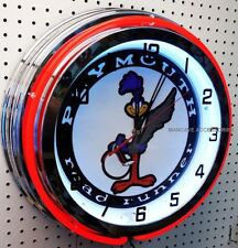 "18"" Plymouth Road Runner Sign Double Neon Clock Mopar Roadrunner"