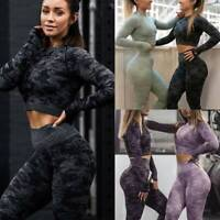 Women Seamless Yoga Suit Crop Tops/Pants Set Leggings Sports Fitness Stretch Gym