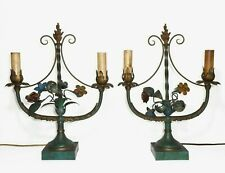 ITALIAN TOLE PAIR VINT PATINATED BRASS ENAMEL FLORAL CANDELABRA ELEC TABLE LAMPS