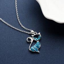 Cat Lindo Colgante Collar de Ópalo Azul de Mujer de Moda Regalo Joyas animal de moda ~