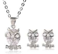 Luxury Silver and White Zircon Owls Stud Earrings Chain Pendant Necklace S577